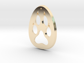 Paw Print Medallion in 14k Gold Plated Brass