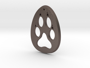 Paw Print Medallion in Polished Bronzed Silver Steel
