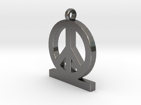 Peace Pendan Man in Polished Nickel Steel