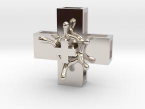 PositiveXSplash in Rhodium Plated Brass