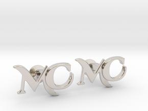 Monogram Cufflinks MC in Rhodium Plated Brass