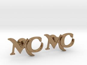 Monogram Cufflinks MC in Natural Brass