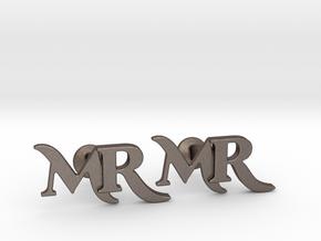 Monogram Cufflinks MR in Polished Bronzed Silver Steel