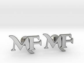 Monogram Cufflinks MF in Natural Silver