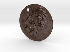 Tragedy Comedy Mask Pendant in Polished Bronze Steel
