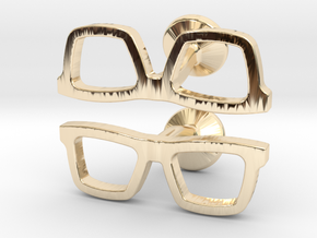 Hipster Glasses Cufflinks in 14k Gold Plated Brass