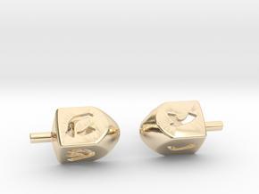 Dreidel Cufflinks in 14k Gold Plated Brass