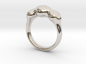 Push Ring - Size 6.25 in Rhodium Plated Brass