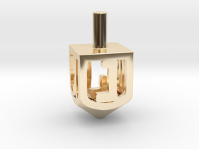 Dreidel (Spinner) in 14k Gold Plated Brass