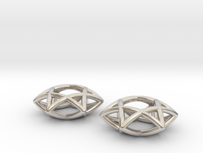 Star Of David earrings (pair) in Rhodium Plated Brass
