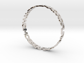 OMG WTF Bangle in Rhodium Plated Brass