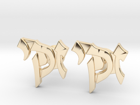 "Hebrew Name Cufflinks - ""Zacky"" in 14k Gold Plated Brass"
