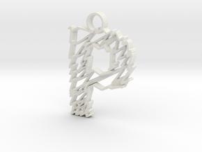 "Sketch ""P"" Pendant in White Natural Versatile Plastic"