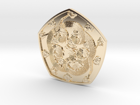 Polished Dragon Coin in 14k Gold Plated Brass