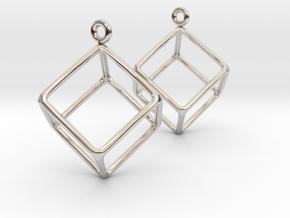 Earth earrings in Rhodium Plated Brass
