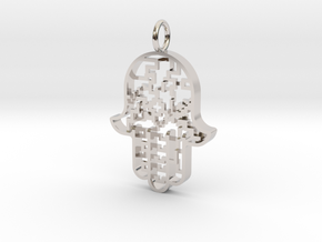 Hamsa Pendant in Rhodium Plated Brass