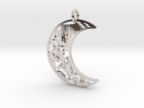 Moon Pendant in Rhodium Plated Brass
