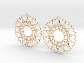 Circle Hearts Earrings in 14k Gold Plated Brass