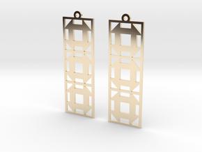 Churn Dash Earrings - Long in 14k Gold Plated Brass