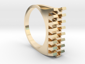 Tri-Fold Edge Ring - US Ring Size 07 in 14k Gold Plated Brass