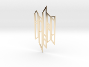 Abstract Fence Pendant in 14k Gold Plated Brass