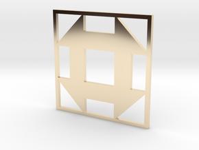 Churn Dash Quilt Block Pendant in 14k Gold Plated Brass
