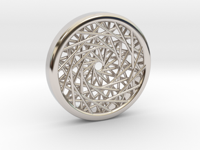 Triple Layered Spirograph Pendant in Rhodium Plated Brass