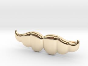 """Brazilian"" Moustache Tie Bar (Metals) in 14k Gold Plated Brass"