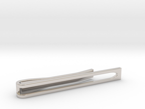 Minimalist Tie Bar - Wedge in Rhodium Plated Brass