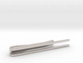 Minimalist Tie Bar - Parallels in Rhodium Plated Brass