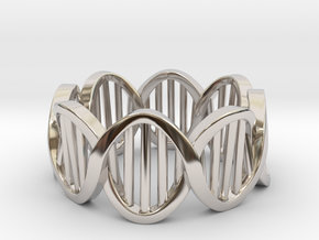DNA Ring (Size 12) in Rhodium Plated Brass