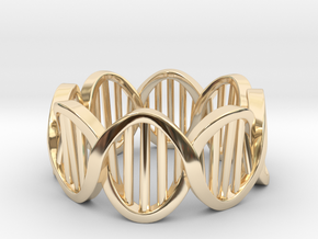 DNA Ring (Size 9) in 14k Gold Plated Brass