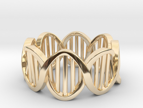 DNA Ring (Size 8) in 14k Gold Plated Brass