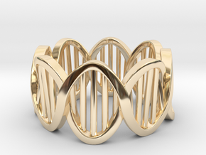 DNA Ring (Size 4) in 14k Gold Plated Brass