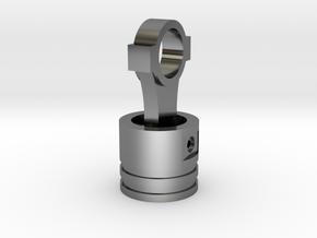 Piston Pendant in Fine Detail Polished Silver