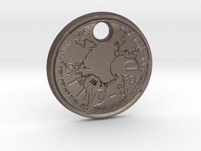 ZWOOKY Style 57 Sample - keychain world in Polished Bronzed Silver Steel