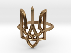 Ukrainian Trident Ring. US 6.0 in Natural Brass