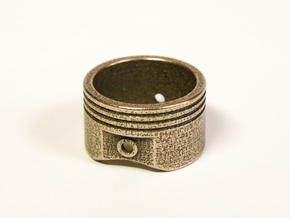 Piston Ring - US Size 11.5 in Polished Bronzed Silver Steel