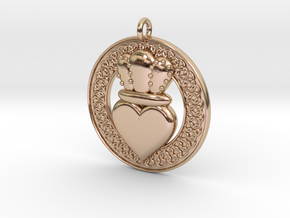 Claddagh Pendant 1 Model in 14k Rose Gold Plated Brass