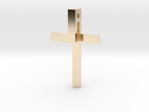 Folded Cross in 14K Yellow Gold