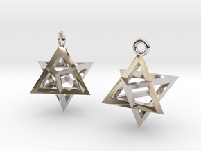 Star Tetrahedron earrings #Silver in Rhodium Plated Brass