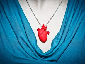 Anatomical Heart Hanger Pendant in Red Processed Versatile Plastic