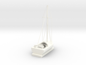 Sailing Ship in White Processed Versatile Plastic