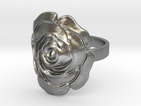 Rose Ring in Natural Silver