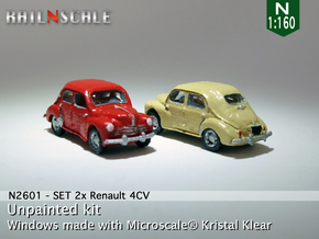 SET 2x Renault 4CV (N 1:160) in Smooth Fine Detail Plastic