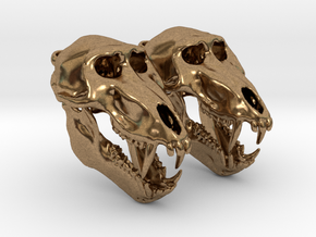 Baboon skull with open jaw - Earring Pair (2) in Natural Brass