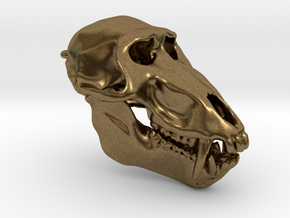 Baboon Skull pendant (closed jaw version) in Natural Bronze