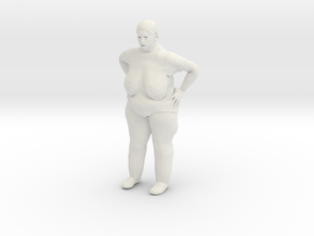 Fat Lady with bobbed hair 1/29 scale in White Natural Versatile Plastic