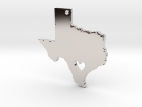 I love Texas Necklace Pendant in Rhodium Plated Brass
