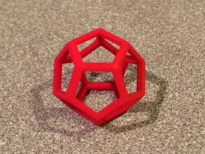"""Dodecahedron Wire Frame - 0.3"""" side in Red Processed Versatile Plastic"""